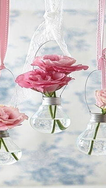 Pink Hanging Glass Flowers