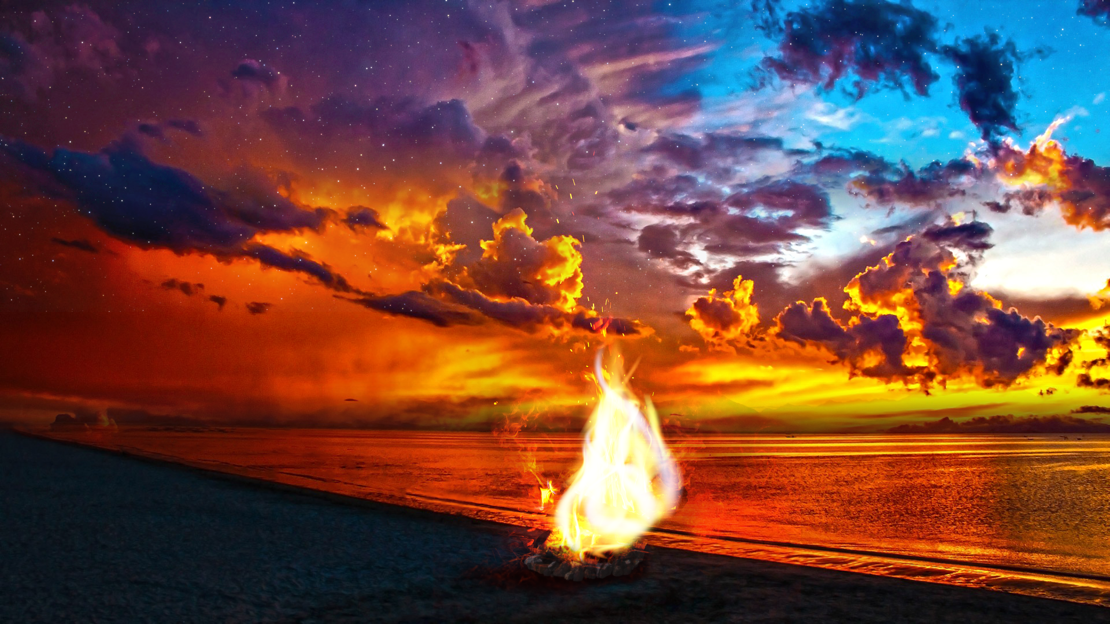 Beach Bonfire 4K Wallpaper Download