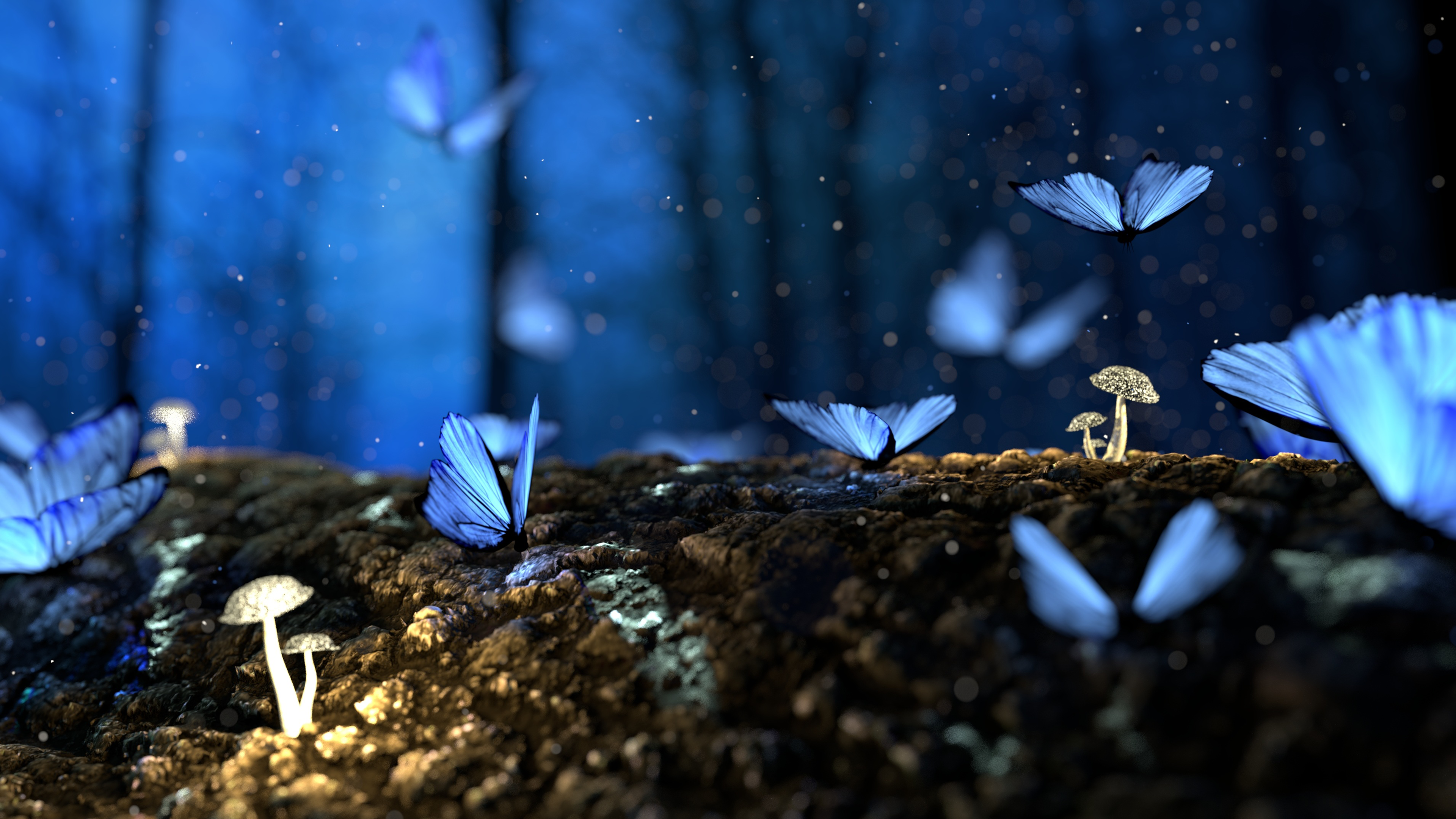 Blue Butterflies 4K Wallpaper Download