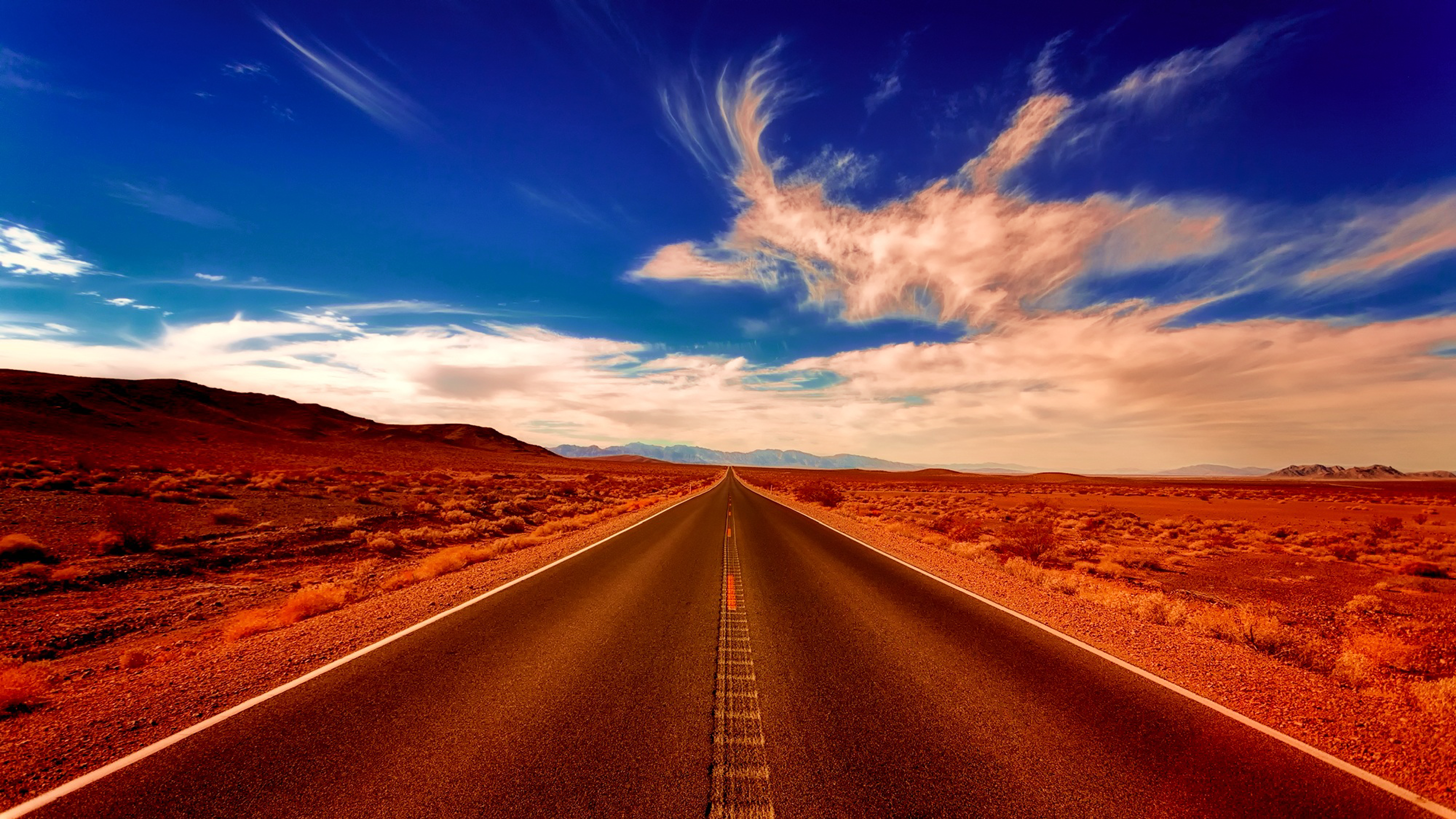 Desert Highway 4K Wallpaper Download