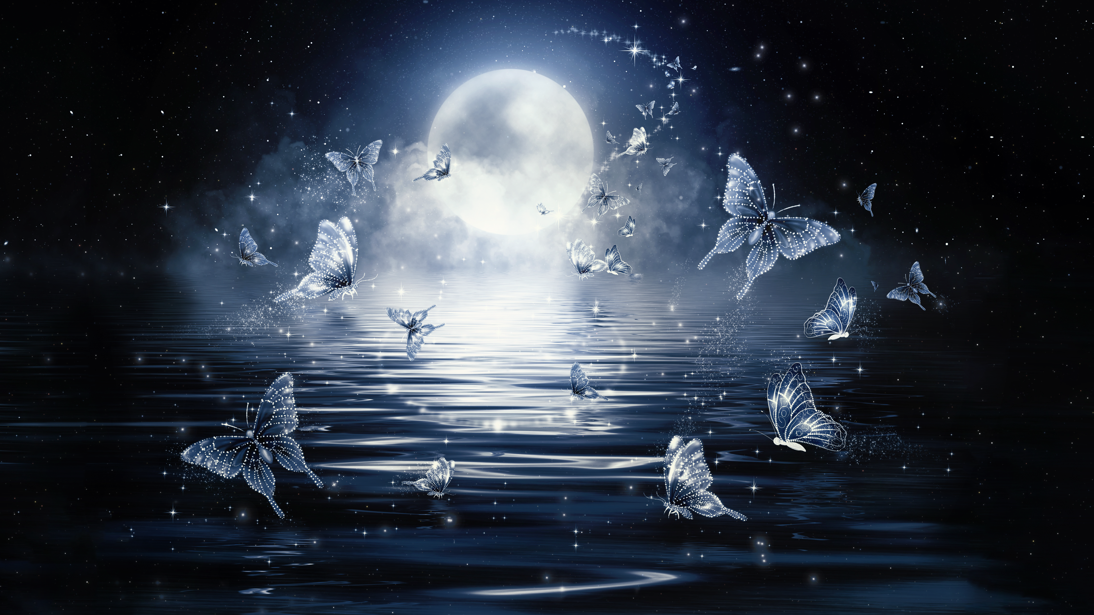 Moon Butterflies 4K Wallpaper Download