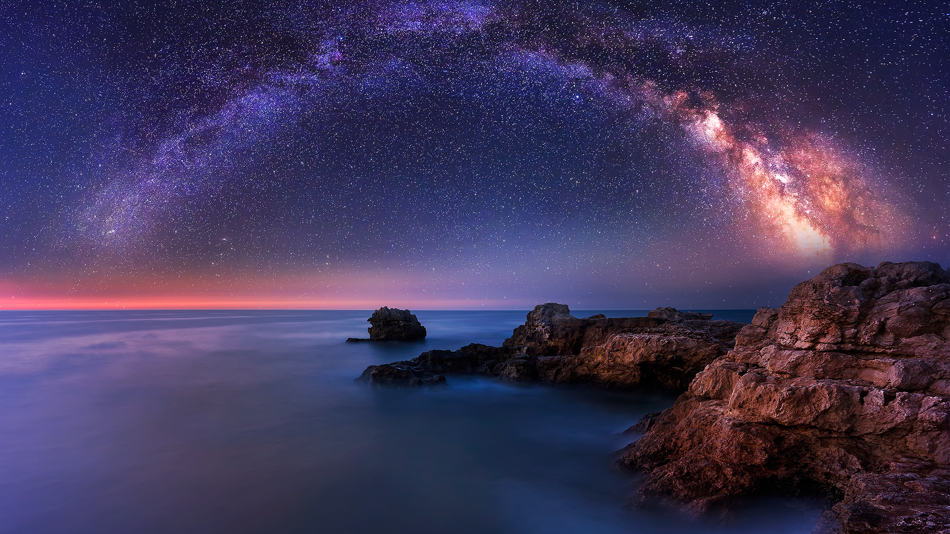 Download this free milky way over the sea tablet wallpaper in hd or 4k 0270 - Tablet wallpaper 4k ...
